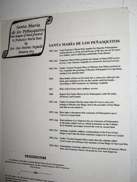 1823-1834 timeline of the Mexican land grant of Santa Maria de Los Peñasquitos, that was made to Captain Francisco María Ruiz.