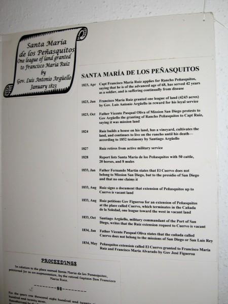 1823-1834 timeline of the Mexican land grant of Santa Maria de Los Peñasquitos, that was made to Captain Francisco María Ruiz.