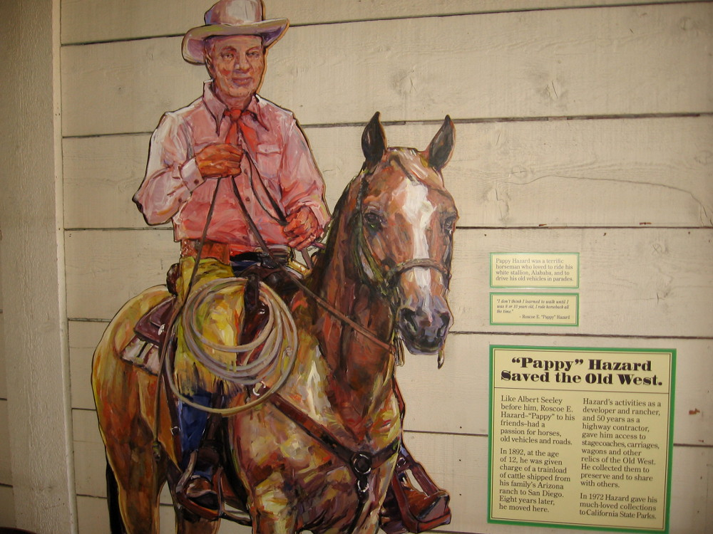 """Roscoe E. """"Pappy"""" Hazard was a developer and rancher who collected stagecoaches, carriages and wagons from the Old West. Many are displayed in Seeley Stable."""