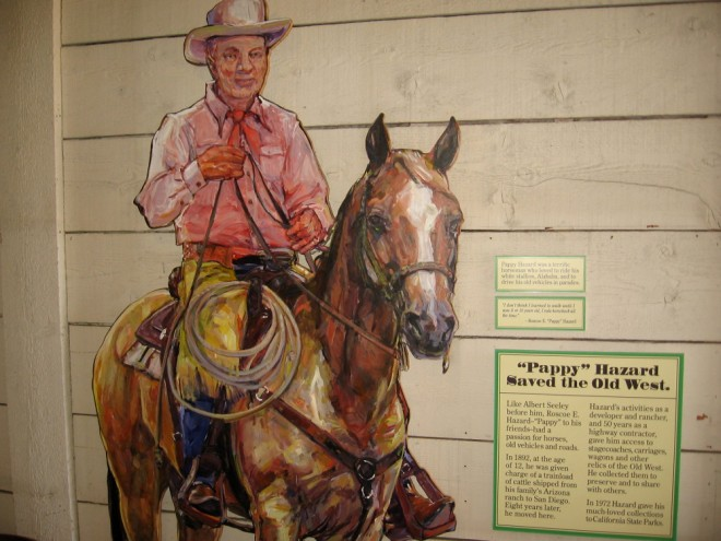 "Roscoe E. ""Pappy"" Hazard was a developer and rancher who collected stagecoaches, carriages and wagons from the Old West. Many are displayed in Seeley Stable."
