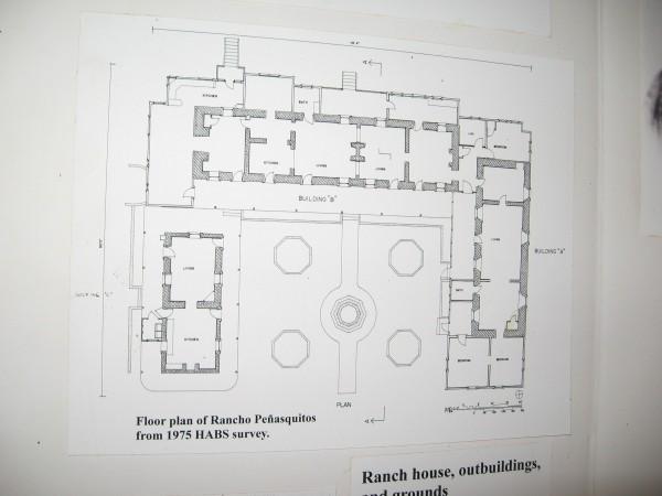 Floor plan of Rancho Peñasquitos from 1975 HABS survey.