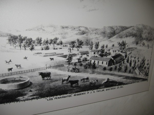 A drawing of the Los Peñasquitos residence of Colonel Jacob Shell Taylor, who purchased the property in 1882. He raised Durham cattle and thoroughbred horses and would found Del Mar.