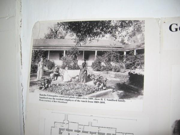 Rancho Peñasquitos courtyard photo taken circa 1889, showing ranch employee H. T. Sandford and his family.