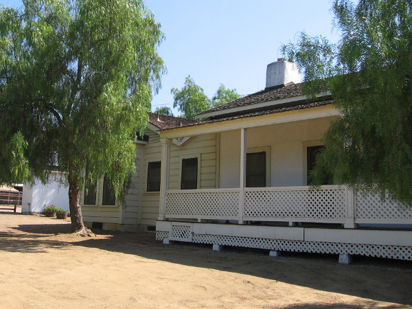 Porch along the front (or west) side of the adobe ranch house, which faced the so-called Road to Yuma.