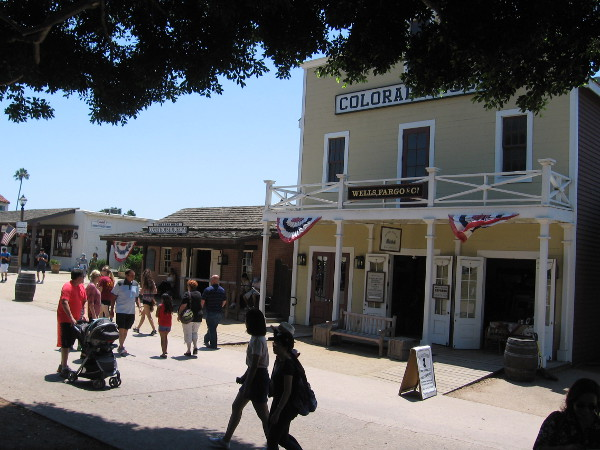 Visitors to Old Town were walking in front of the Colorado House and enjoying a sunny San Diego weekend.