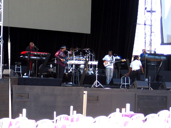 The Commodores do a sound check before their evening performance at Bayside Summer Nights.