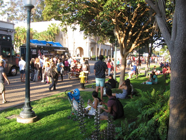 Feasting on the grass in sunny Balboa Park. Food Truck Fridays is the place to be for a fun and festive dinner.