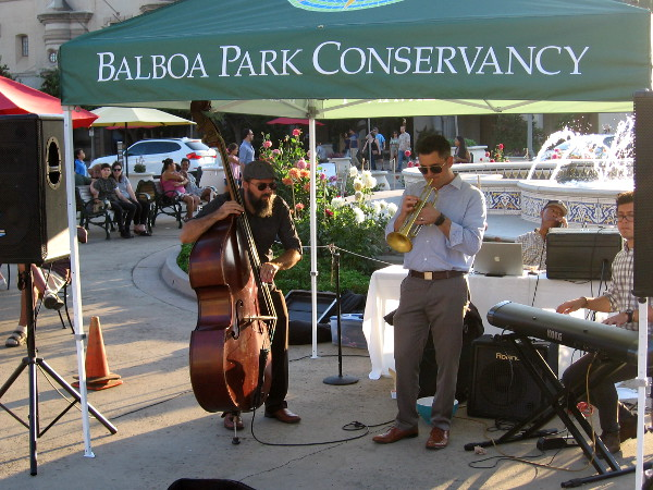 Musicians were playing under the Balboa Park Conservancy canopy near the Plaza de Panama fountain.
