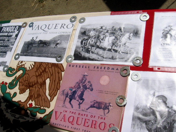 Tables contained information about life during the era of huge Mexican land grant cattle ranches worked by vaqueros. Vaqueros, the first cowboys, were mostly indigenous people employed to manage cattle by the wealthy land owners.