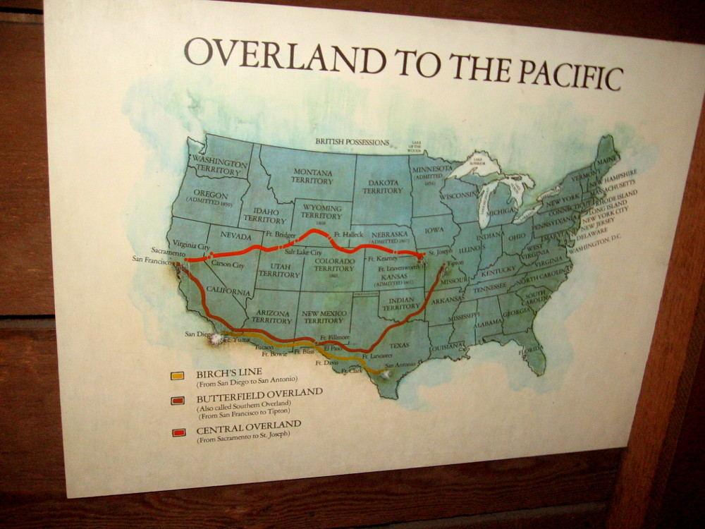 Map shows important stagecoach routes, including the Butterfield Overland, and the Birch's Line from San Antonio to San Diego.