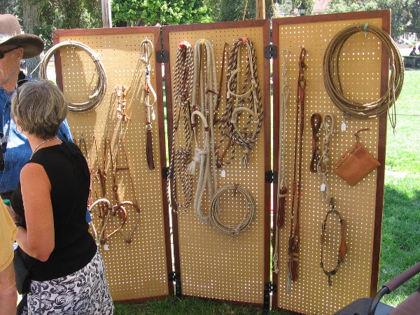 A display of braided ropes and cut rawhide, once commonly used by vaqueros as they worked on the large cattle ranches around San Diego.