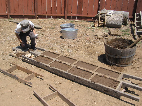 These authentic adobe bricks take weeks or months to properly dry. When hard, they'll possibly be used in new construction or restored exhibits at Old Town San Diego State Historic Park.