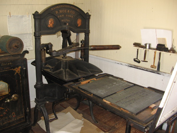 Washington hand presses were common on the frontier because of their relative light weight. They required two people for efficient operation.