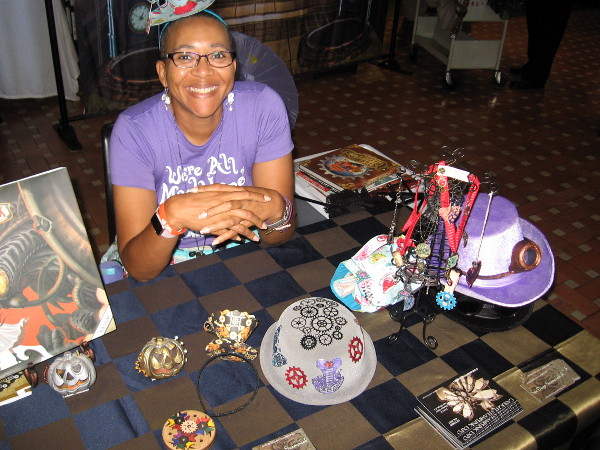 A super nice lady had a table full of steampunk crafts she had made. Like others participating in the event, she is a member of San Diego Steampunk.