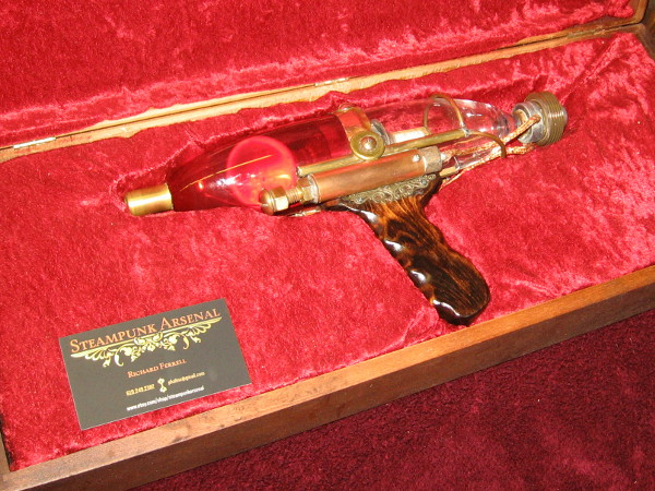 This ray gun from Steampunk Arsenal is made of glass bottles and imagination.