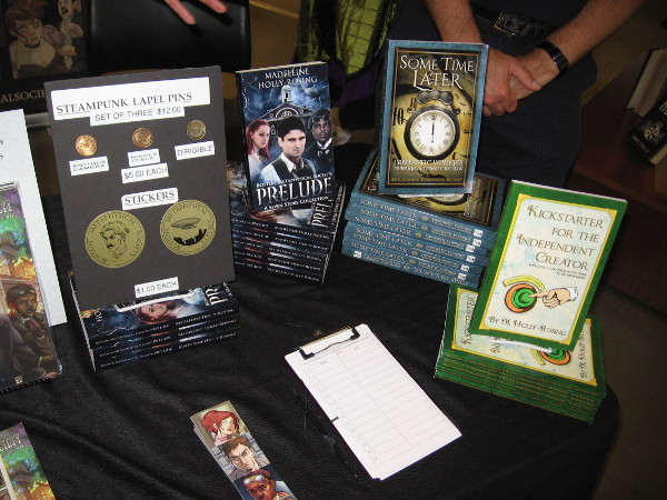 Steampunk writer Madeleine Holly-Rosing had a table displaying some of her books. If you like reading steampunk fiction, you should probably check it out.