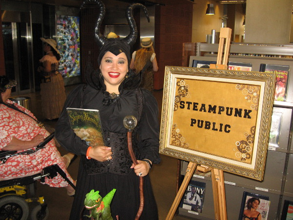 Maleficent greeted me at the Steampunk Public table. I learned she's not really evil, just a bit misunderstood.