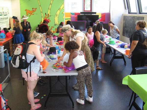 Kids in the Children's Library were busy making Mad Hatter hats!