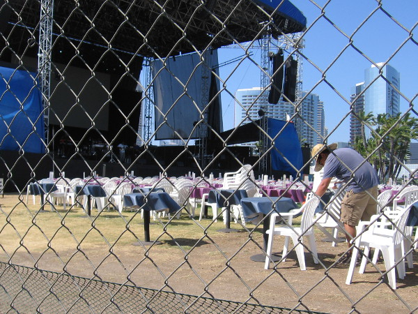 Getting the chairs ready for an outdoor concert on San Diego Bay.