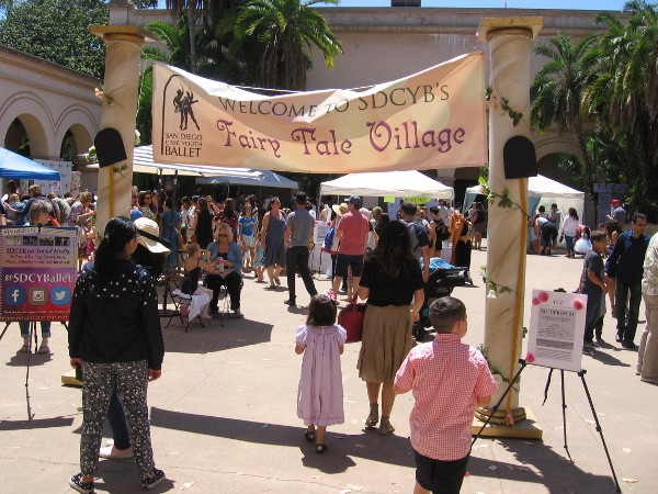 San Diego Civic Youth Ballet had a Fairy Tale Village set up today in the Casa del Prado's outer courtyard.