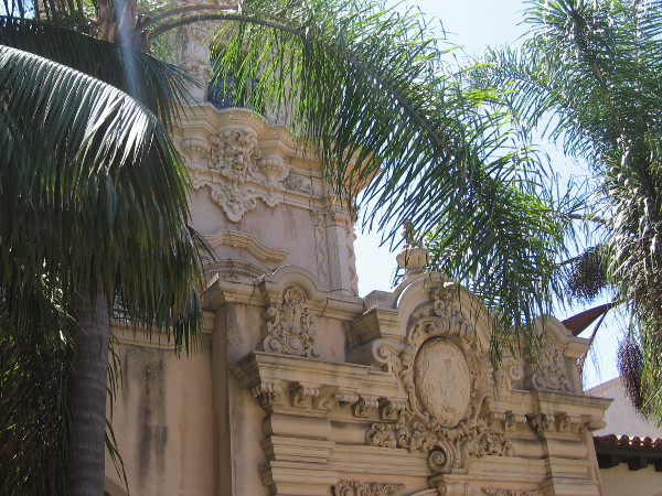 Beautiful Spanish Colonial Revival architecture at the west end of the Casa de Balboa, photographed from El Prado.