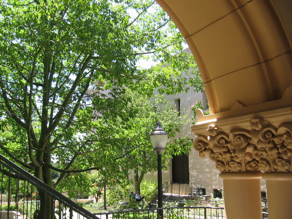 Looking through one of those arches at cool greenery between the two historic buildings.