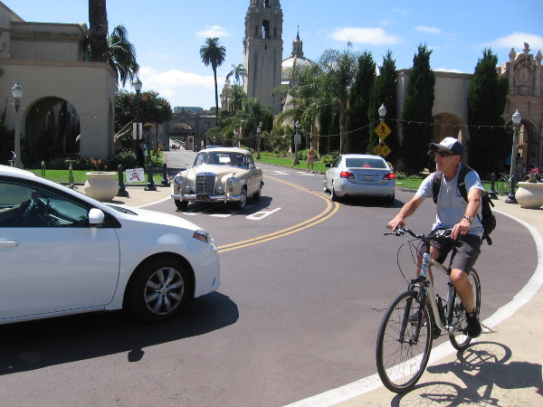 Riding a bike through Balboa Park on a perfect summer Sunday.