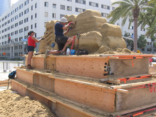 Master sand artists are at work in San Diego, getting ready for a big international sand sculpture competition!