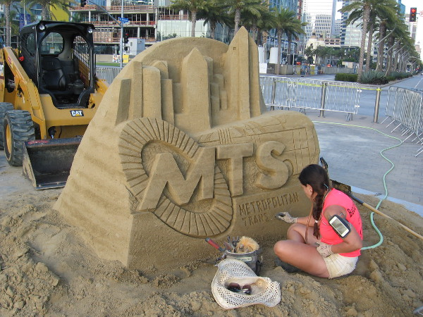 Melineige Beauregard finished the Ninjago sculpture. Now she's putting the finishing touches on the MTS sculpture!