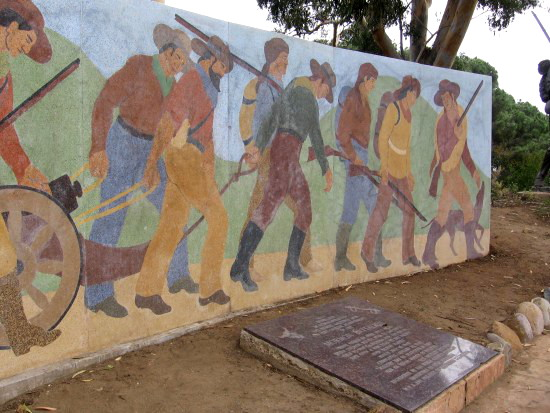 Mural at Fort Stockton of the Mormon Battalion.