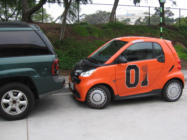 This tiny General Lee is in a parking predicament that it can't jump over.
