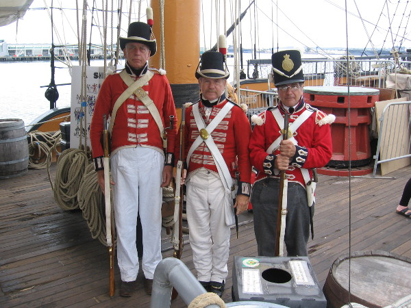 British Royal Marines pose for my camera on HMS Surprise during the 2017 Festival of Sail in San Diego.
