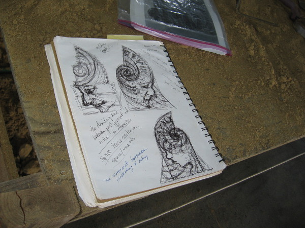Sue's sketchbook provides some insight into her piece. The dividing line between past, present and future is an illusion.