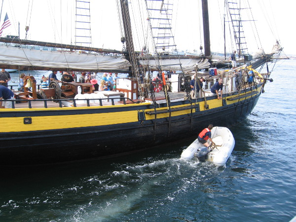 The Spirit of Dana Point, a replica of an American Revolution privateer ship, heads out into San Diego Bay.