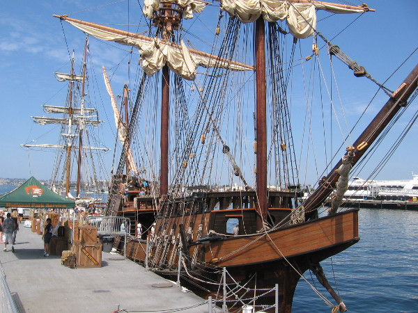 Many people were boarding the San Salvador, one of the many amazing vessels belonging to the Maritime Museum of San Diego.