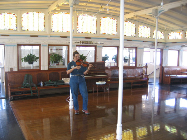 Some fiddling could be enjoyed on the Berkeley's beautiful passenger deck.