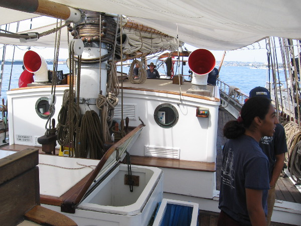 A photo on the deck of Exy Johnson, a beautiful brigantine used in the Los Angeles Maritime Institute's TopSail Youth Program.