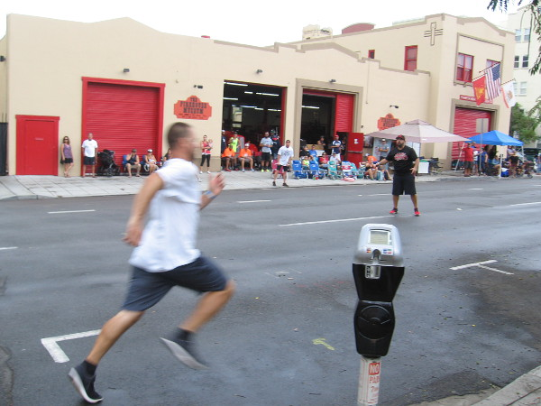 Running for home in front of the San Diego Firehouse Museum during the 2017 Labor Day Stickball Tournament.