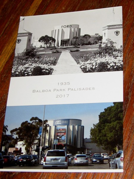 Photos on a postcard created by The Committee of One Hundred shows Balboa Park's Palisades area in 1935 and 2017.
