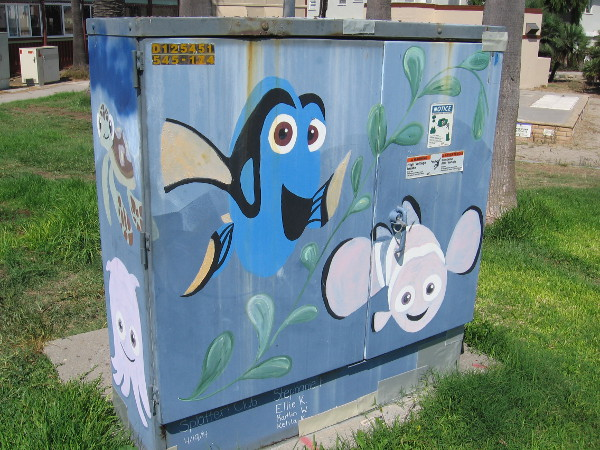 And, of course, Dory and Nemo! This happy street art was created by the Splatter Club!