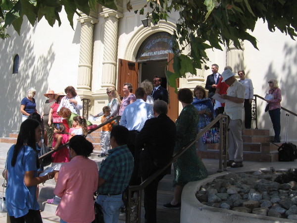 At one'o'clock, people of many backgrounds and beliefs gather on the church steps to celebrate the United States Constitution, which enshrines human liberty.