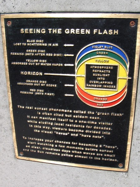 The sunset phenomenon called the green flash is often cited but seldom seen. A diagram shows how near-horizontal sunlight is refracted through the atmosphere.