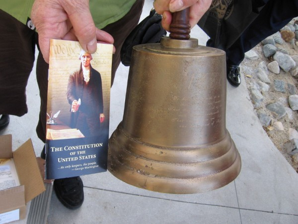 This old bell of the Daughters of the American Revolution features an inscription from the United States Declaration of Independence: We hold these truths to be self-evident, that all men are created equal, that they are endowed by their Creator with certain unalienable Rights, that among these are Life, Liberty and the pursuit of Happiness.