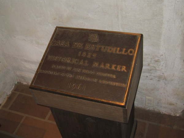 Another historical marker placed by the DAR can be found in Old Town's Casa de Estudillo.