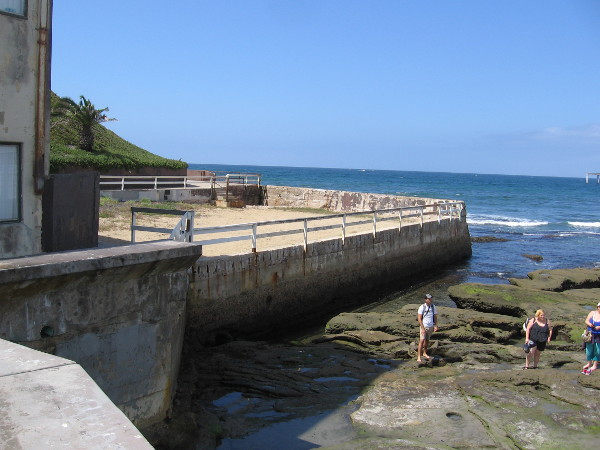 People explore tide pools between the sand-filled, long-defunct Plunge and the OB Pier.