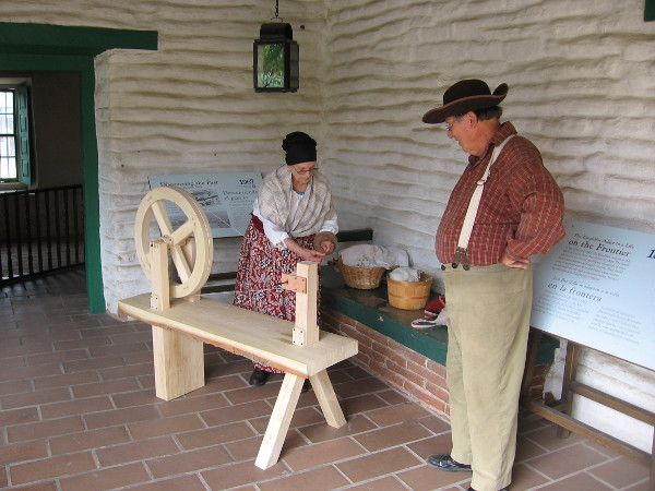 A demonstration inside the Casa de Estudillo of yarn being spun. During the Spanish period, sheep were first introduced along with cattle and horses at the Mission San Diego de Alcalá.