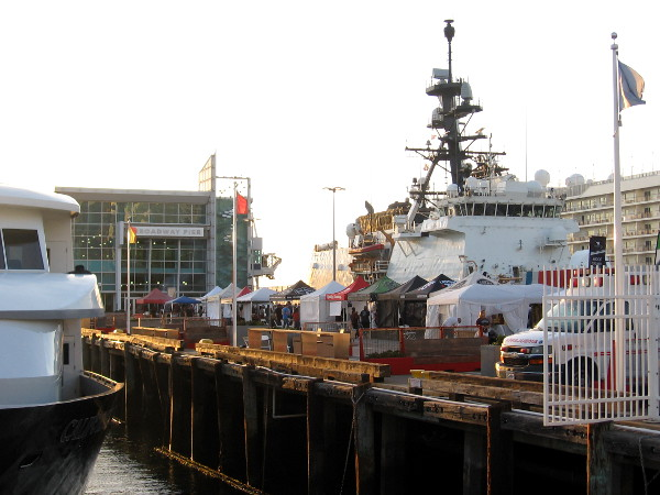 The illegal drug intercepting Coast Guard cutter Stratton is docked at the Broadway Pier next to the San Diego Festival of Beer.