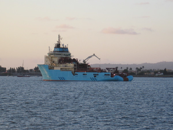 The Maersk Launcher at anchor in San Diego Bay.