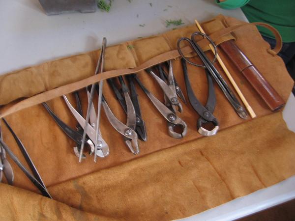 The many tools of a bonsai gardener.