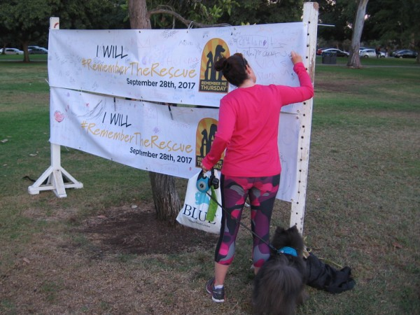 A banner invites messages of hope and love.